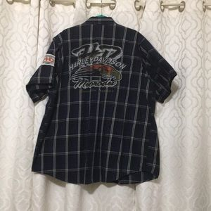 Genuine Harley Davidson Men's Shirt Nav Plaid